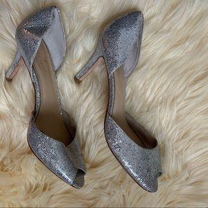 """Kate Spade """"Sissy"""" silver heels worn once"""